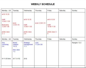create a study schedule for long distance relationship in college